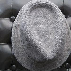 Roaman's Grey Pinstriped Fedora